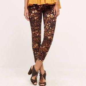 Anthropologie Essential Slim Trousers Floral